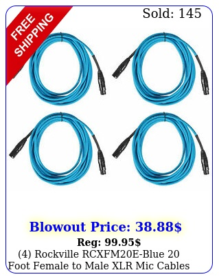 rockville rcxfmeblue foot female to male xlr mic cables coppe