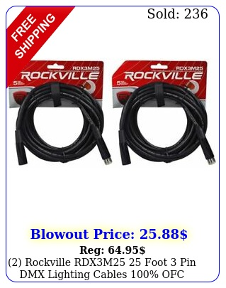 rockville rdxm foot pin dmx lighting cables ofc female to mal