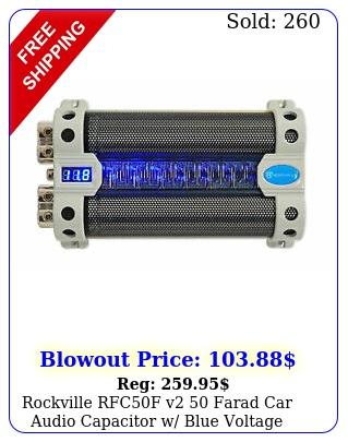 rockville rfcf v farad car audio capacitor w blue voltage displa