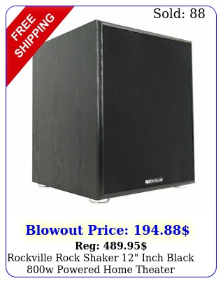 rockville rock shaker inch black w powered home theater subwoofer su