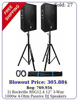 rockville rsg way w ohm passive dj speakers stands cables ba