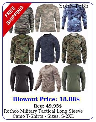 rothco military tactical long sleeve camo tshirts sizes sx
