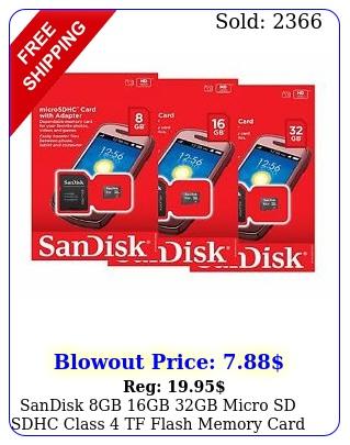 sandisk gb gb gb micro sd sdhc class tf flash memory card adapter lo