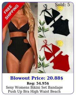 sexy womens bikini set bandage push up bra high waist beach swimsuit swimwear l
