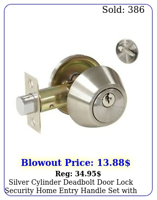 silver cylinder deadbolt door lock security home entry handle set with key
