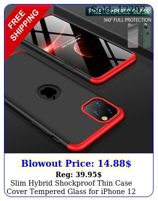 slim hybrid shockproof thin case cover tempered glass iphone  pro ma