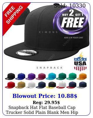 snapback hat flat baseball cap trucker solid plain blank men hip hop adjustabl