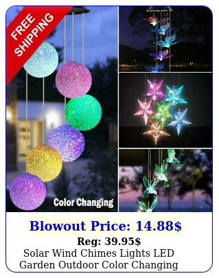 solar wind chimes lights led garden outdoor color changing hanging waterproof u