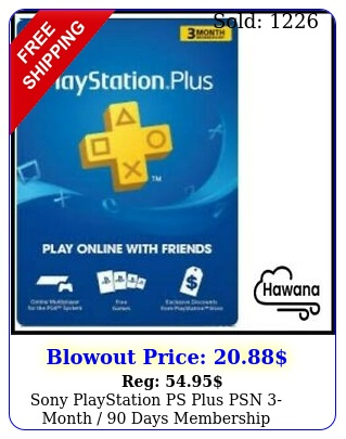 sony playstation ps plus psn month  days membership subscription us