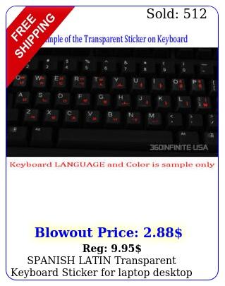 spanish latin transparent keyboard sticker laptop desktop red black whit
