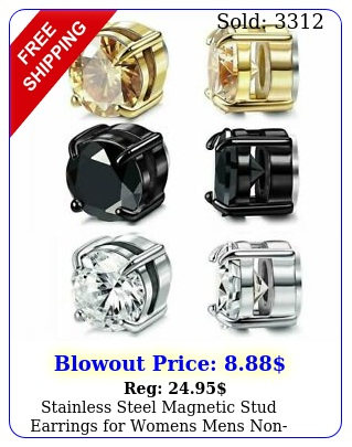 stainless steel magnetic stud earrings womens mens nonpiercing clip o