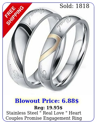 stainless steel real love heart couples promise engagement ring wedding ban