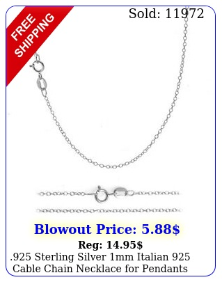 sterling silver mm italian cable chain necklace pendants all size