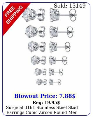 surgical l stainless steel stud earrings cubic zircon round men women p