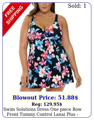 swim solutions dress one piece bow front tummy control lanai plus pick siz