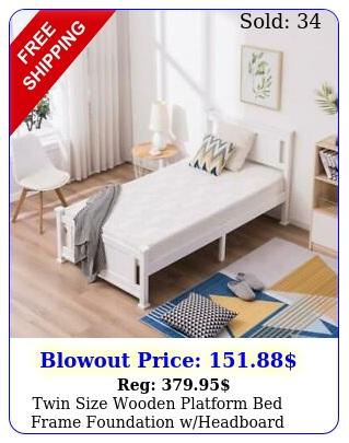 twin size wooden platform bed frame foundation wheadboard footboard wood slat