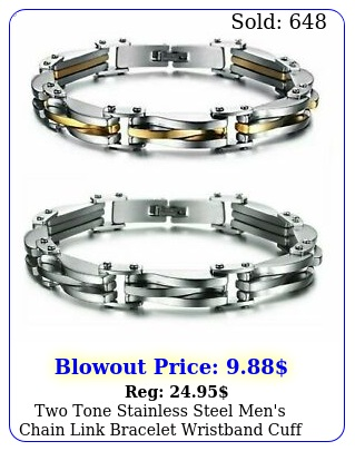 two tone stainless steel men's chain link bracelet wristband cuff bangl