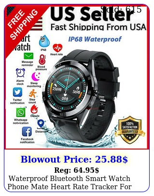 waterproof bluetooth smart watch phone mate heart rate tracker ios androi