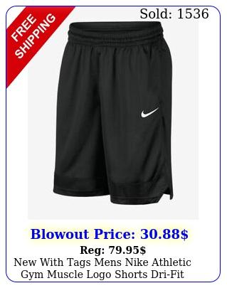 with tags mens nike athletic gym muscle logo shorts drifit runs smal