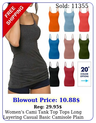 women's cami tank top tops long layering casual basic camisole plain plus s x