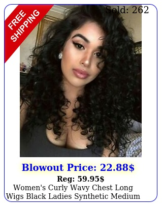 women's curly wavy chest long wigs black ladies synthetic medium length hair u