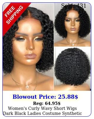 women's curly wavy short wigs dark black ladies costume synthetic hair us shi