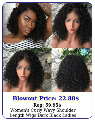 women's curly wavy shoulder length wigs dark black ladies costume synthetic hai