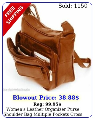 women's leather organizer purse shoulder bag multiple pockets cross body handba