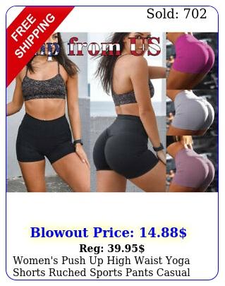 women's push up high waist yoga shorts ruched sports pants casual gym workout u