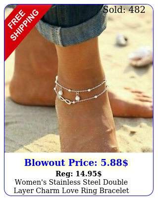 women's stainless steel double layer charm love ring bracelet chain anklet gif