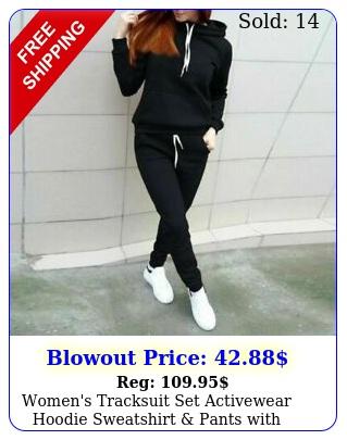 women's tracksuit set activewear hoodie sweatshirt pants with pockets piec