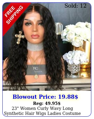 women curly wavy long synthetic hair wigs ladies costume dark black wi
