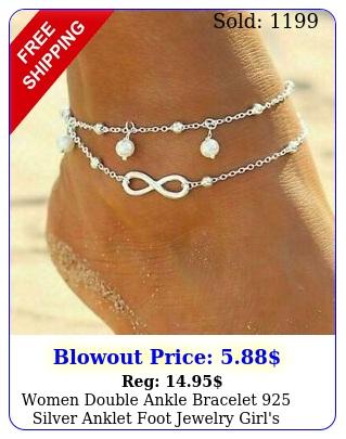 women double ankle bracelet silver anklet foot jewelry girl's beach chain u