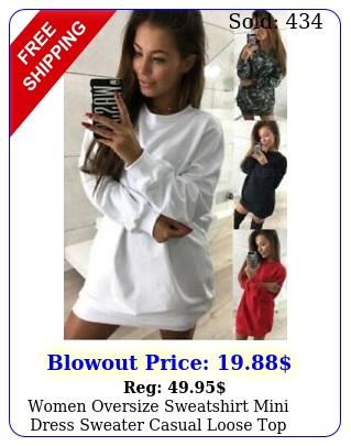 women oversize sweatshirt mini dress sweater casual loose top baggy shir
