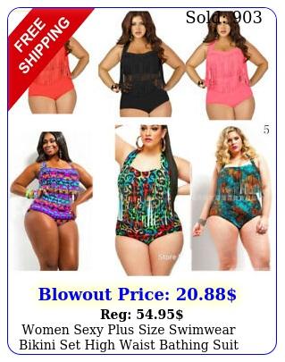 women sexy plus size swimwear bikini set high waist bathing suit swimsuit ruffl