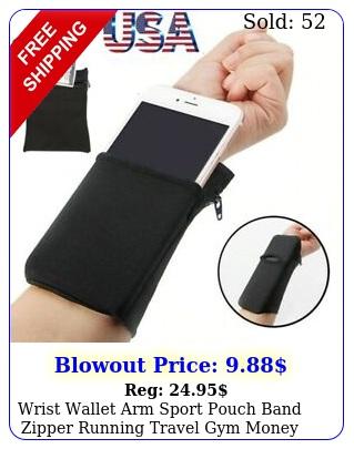wrist wallet arm sport pouch band zipper running travel gym money id card key u