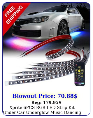 xprite pcs rgb led strip kit under car underglow music dancing wireless remot