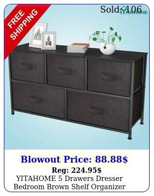 yitahome drawers dresser bedroom brown shelf organizer chest cabinet wide bin