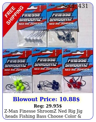 zman finesse shroomz ned rig jig heads fishing bass choose color size zma